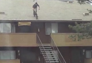 Insane Bike Jump From Rooftop Down Stairs