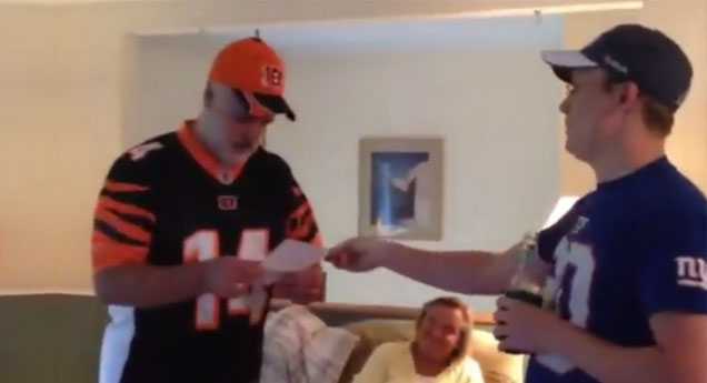 Son Surprises Dad With NFL Tickets view on ebaumsworld.com tube online.
