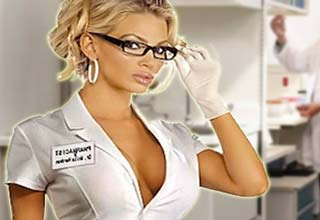 Busty nurse with thick rimmed glasses
