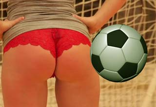 Soccer balls bouncing off Belgian girl's butts