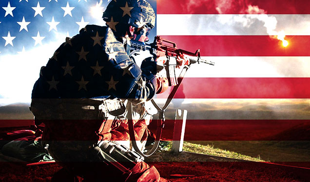 US soldier aiming weapon with USA flag overlay