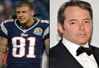 a photo collage of 3 celebrities who have killed people aaron hernandez, matthew broderick, michael jace,