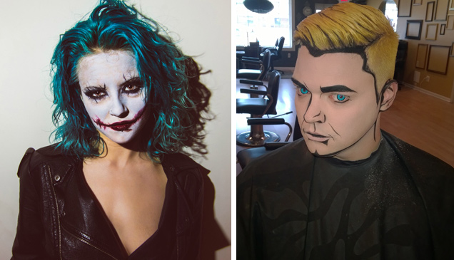female woman joker comic book makeup