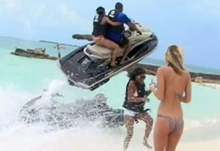 Couple On Speeding Jet Ski Have A Crash Landing After Going Airborne