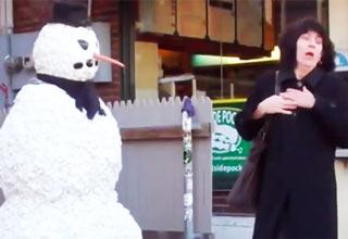 snowman scares woman