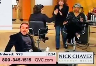qvc host falls on his butt