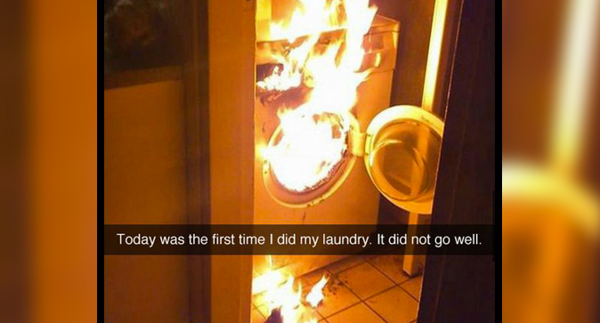 laundry machine on fire