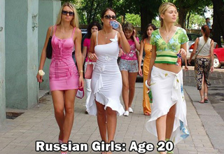 three attractive russian girls