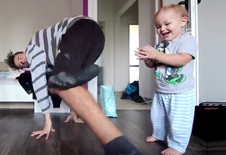 baby dancing with dad