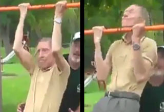 old man does pull ups