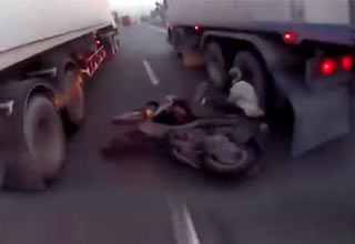 scooter accident with semi trucks