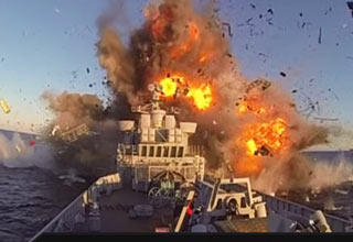 warship hit by missile