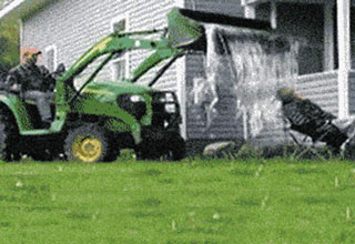 Tractor water dump prank