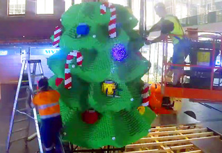massive christmas tree made of lego