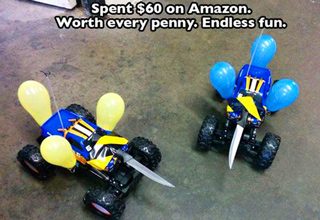 remote control cars with knifes and balloons