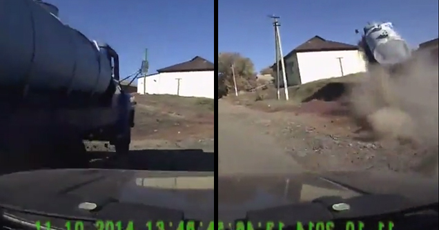 On the left side a car is being overtaken by a big rig on a rural road. On the right side, the big rig is going off a natural jump made of a small hill, and the truck is kicking up dust behind it.