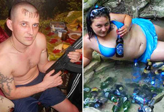 russian guy holding gun russian girl drinking beer