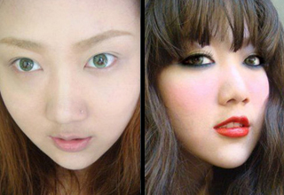 asian girl before after makeup