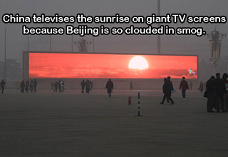 china televising the sunset because of too much smog