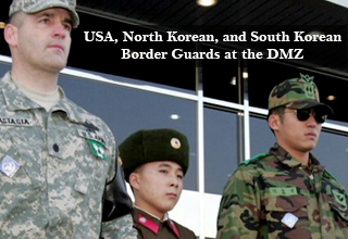 USA, North Korean, and South Korean Border Guards at the DMZ