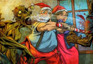 santa claus fighting zombies