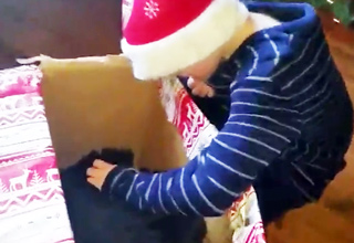 kid gets puppy for christmas