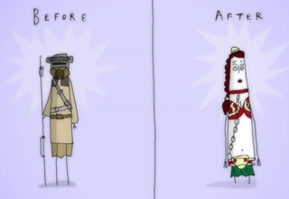 cartoon drawing of princess leia before and after being a slave