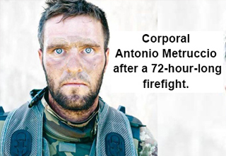 Corporal Antonio Metruccio after a 72-hour-long firefight.