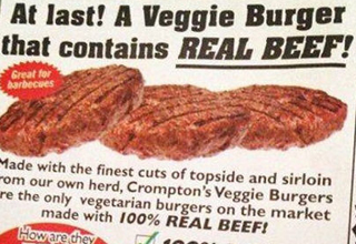 Ad reads: At last! A Veggie Burger that contains REAL BEEF!