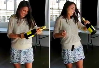 girl in skirt with champagne bottle