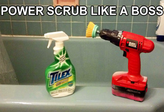 tilex spray bottle and black and decker drill with scrub brush