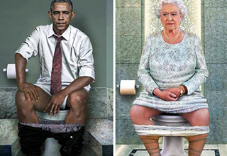 barack obama, queen elizabeth II, on the toilet