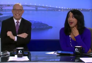 news anchors laughing on set