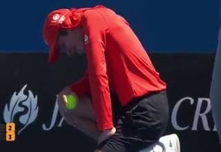 australian ball boy gets hit in crotch by serve