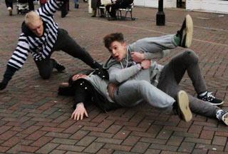 guys wrestling in public