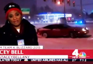 car drifts during live weather report