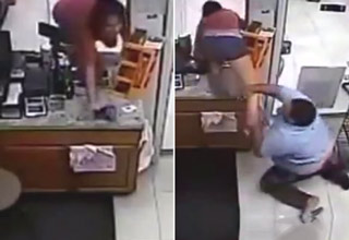 girl steals money from store, employee tries to stop her.
