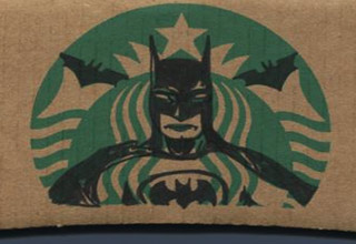 batman drawn over starbucks logo