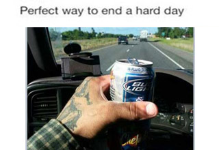 guy posts drinking and driving photo