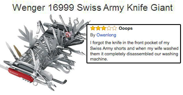 Picture of giant swiss army knife with a ton of functions. Text: I forgot the knife in the front pocket of my Swiss Army shorts and when my wife washed them it completely disassembled our washing machine.