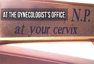 sign at gynecologist of