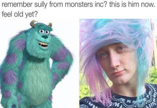 sully and guy with purple and blue hair