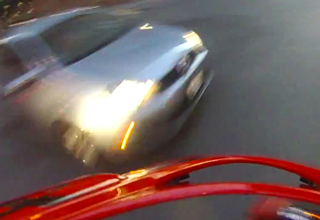 car about to hit motorcycle POV