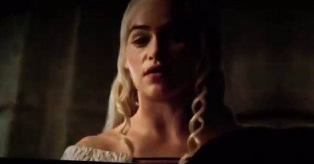 daenerys targaryen in game of thrones season 5 leaked traile