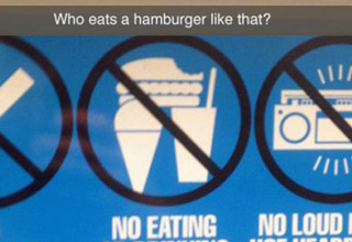 no eating sign, burger, snow cone, drink