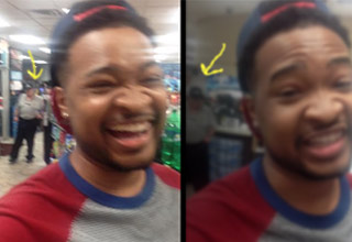 Black guy in three frames with the same white store employee looking at him in the background.