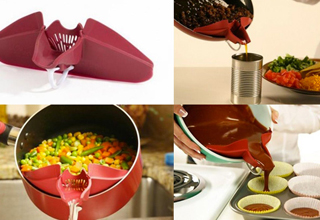 A funnel-like device that attaches to pots and bowls so that pouring out of those containers is mo