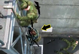 video game soldiers climbing ladde