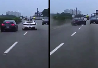 white ferrari cuts off blue gtr causing an accident