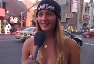 younger white woman being interviewed on kimmel